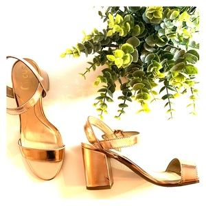 "Circus Sam Edelman Rose gold square 3"" heel sandal"